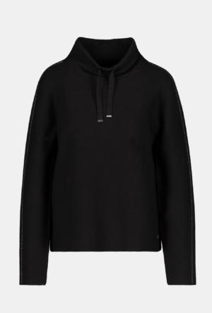 Monari Stehkragen Pullover mit Strass-Elementen, 1/1 Arm in schwarz