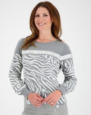 Baumwollpullover im Tiger Look Grau monari 15939 2