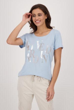 Monari Jersey Shirt mit Glitzer Print blau 5