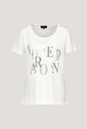Monari Jersey Shirt mit Glitzer Print weiss 1