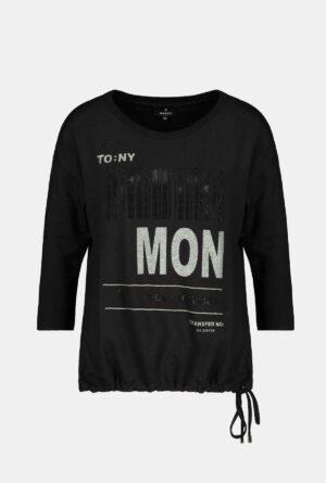 804734_Monari-Schwarzes-Jerseyshirt-mit-¾-Arm-6